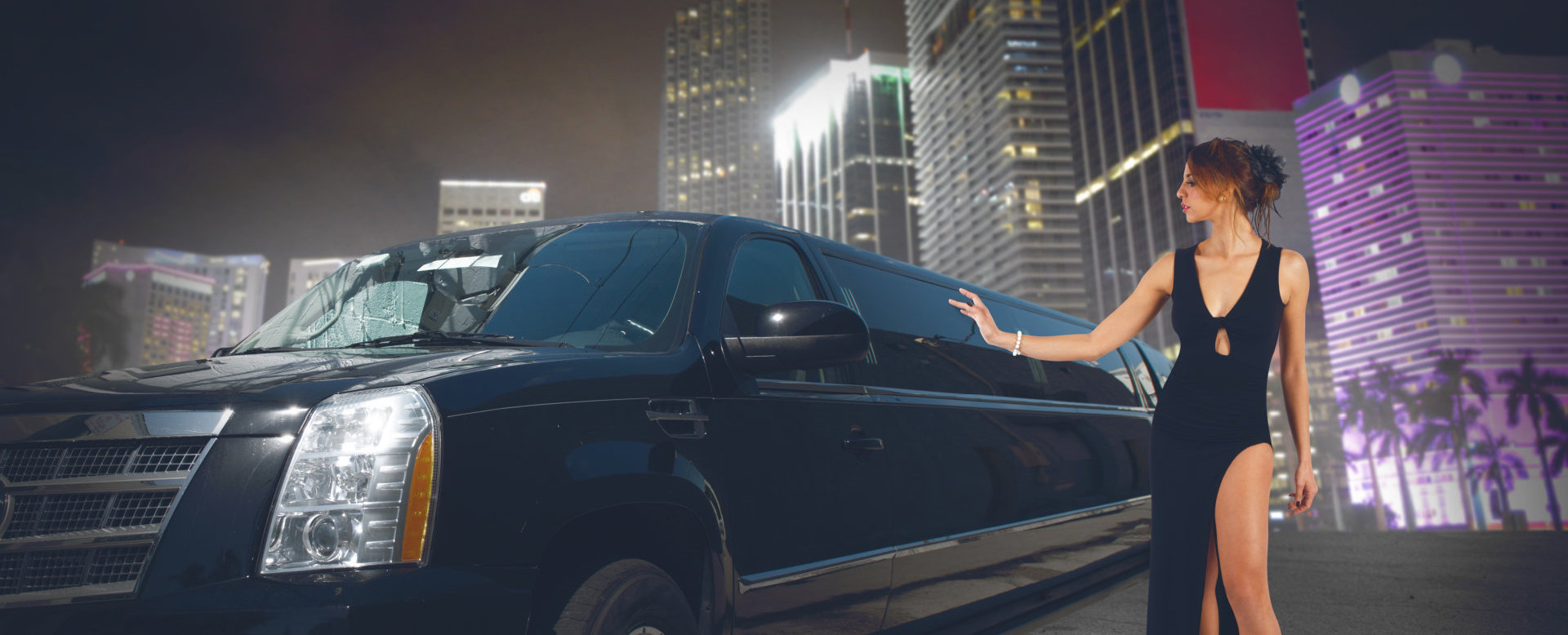 woman and limousine car